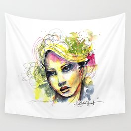 Abstract watercolor portrait Wall Tapestry