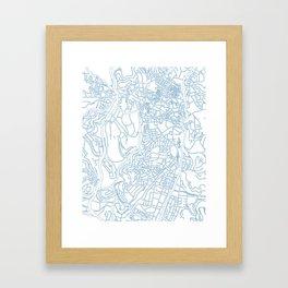 Street MAP Jerusalem // Blue Framed Art Print