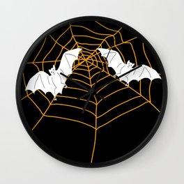 Halloween Orange Spider web with Bats Wall Clock