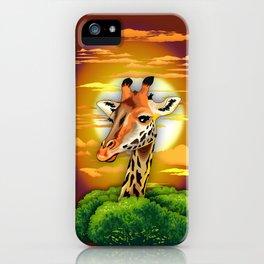 Giraffe on Wild African Savanna Sunset iPhone Case