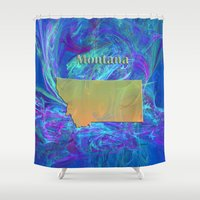 montana Shower Curtains featuring Montana Map by Roger Wedegis