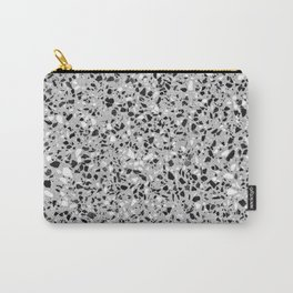 Black White Grey Monochrome Terrazzo Pattern Stone Speckles Effect Carry-All Pouch