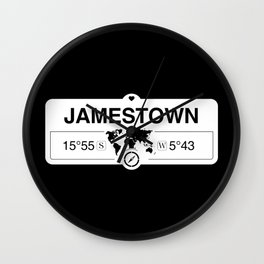Jamestown Saint Helena GPS Coordinates Map Artwork Wall Clock