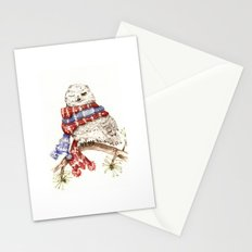 Winking Arctic Owl in Scarf Stationery Cards
