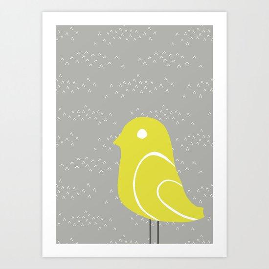 Bird on tussocks Art Print