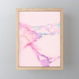 Pink Iridescent Vein Marble Framed Mini Art Print
