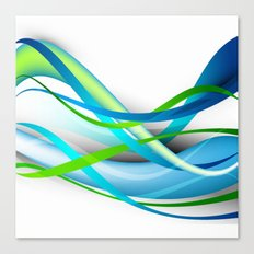 Modern Blue and Green Streamers Canvas Print
