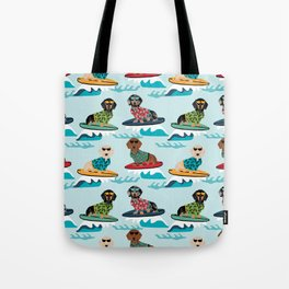 dachshund surfing dog breed pattern pet gifts Tote Bag