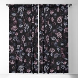Moody Dark Floral - purple blue roses and peonies on black Blackout Curtain