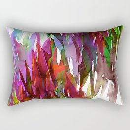 FERVOR 3 Colorful Bold Abstract Autumn Fall Crimson Red Purple Mauve Green Watercolor Painting Art Rectangular Pillow