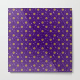 Astrological Purple Stars and Sun Metal Print