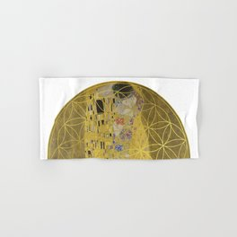 The Kiss - Gustav Klimt - Golden Flower Of Life Hand & Bath Towel