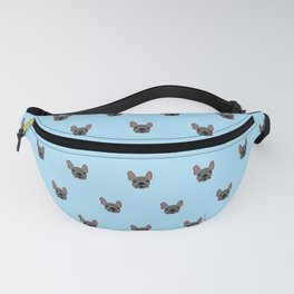 Black Frenchie Mouse Blue Brindle French Bulldog Print Pattern on Pastel Blue Background Fanny Pack