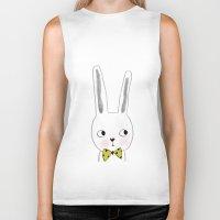 bow Biker Tanks featuring rabbit bow  by Paola Zakimi