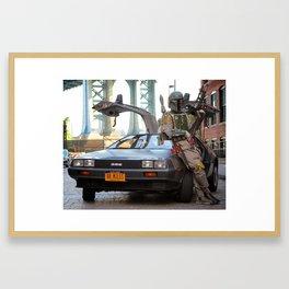 Mandalorian Delorean 2 - Bobba Fett, Bounty Hunter Framed Art Print