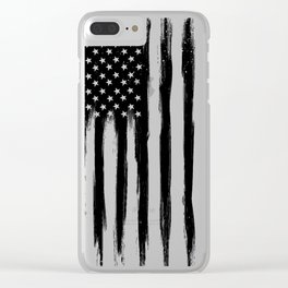Black American Flag Clear iPhone Case
