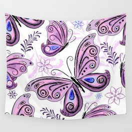 Colorful Butterflies and Flowers V12 Wall Tapestry