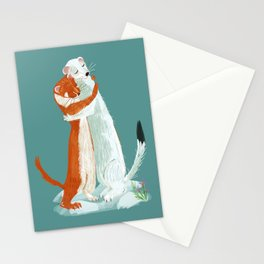 Weasel hugs Stationery Cards