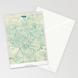 Leeds Map Blue Vintage Stationery Cards
