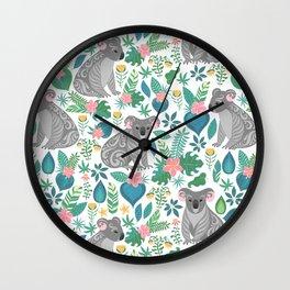 Floral Koala Wall Clock