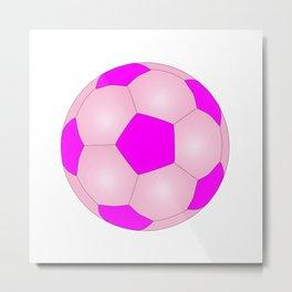 Pink And White Football Metal Print