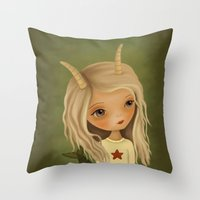 capricorn Throw Pillows featuring Capricorn by The Midnight Rabbit