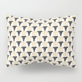Black Greyhound Faces & Decorative Butterfly Patterns Pillow Sham