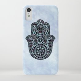 Watercolor Blue Pink Hamsa Hand iPhone Case