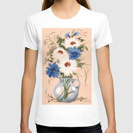 Watercolor Meadow Flowers. Bouquet. Cornflowers and Daisies T-shirt