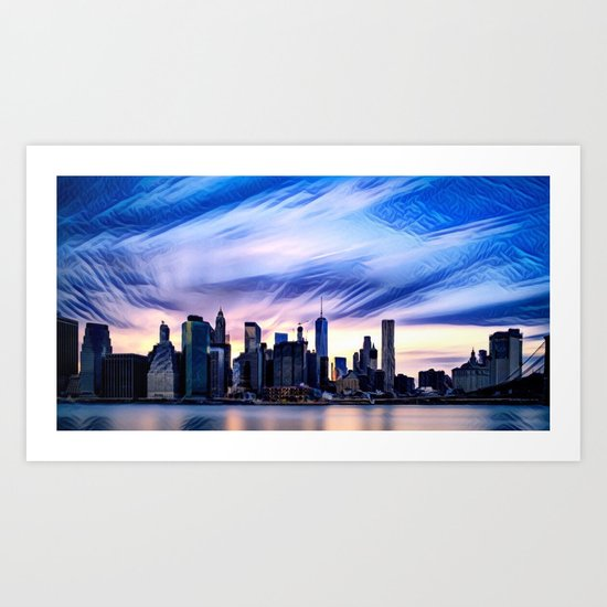 Romantic City Cityscape with Light Sunset and River Art Print