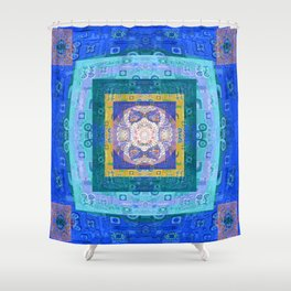 Boho Lace Vintage Quilt Sacred Geometry Print Shower Curtain