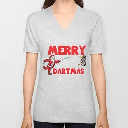 Darts Gift Christmas Santa Dartmas Dartplayer Unisex V-Neck