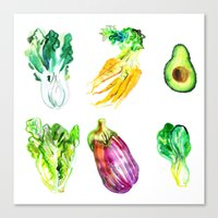 vegetables Canvas Prints featuring Vegetables by Naomi Bardoff