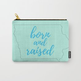 Iowa - Born and Raised - Mint and Blue Carry-All Pouch