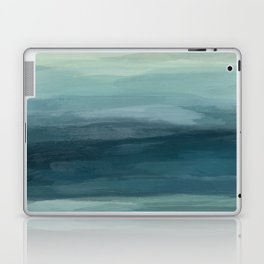Seafoam Green Mint Navy Blue Abstract Ocean Art Painting Laptop & iPad Skin