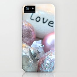 Romantic Shabby Chic Holiday Christmas Ornaments Love Print and Home Decor iPhone Case