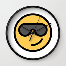 Smiley Face   Cool Sunglasses Happy Face   Cute Grey Glasses Wall Clock