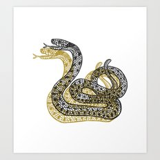Snake (Black/Gold) Art Print