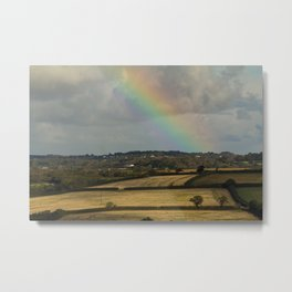 Rainbow Over Fields Metal Print