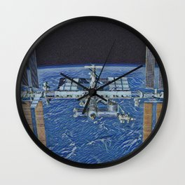 International Space Station Artistic Illustration Void Space Style Wall Clock