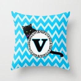 Letter V Cat Monogram Throw Pillow