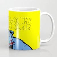 lichtenstein Mugs featuring Röyksopp Forever Roy Lichtenstein Inspired Portrait 1 by Alli Vanes