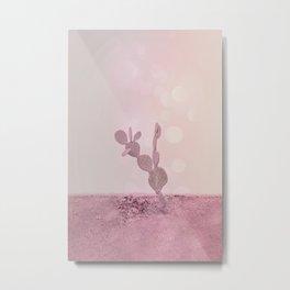 Pink Desert Cactus Metal Print