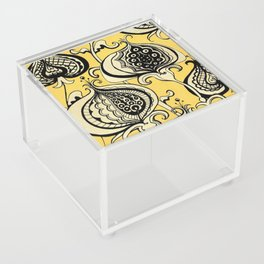 Black and Yellow Floral Acrylic Box