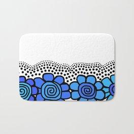 Four Doodle Flowers - Blues Bath Mat