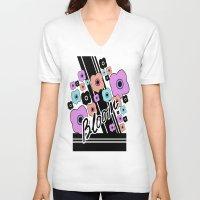 blush V-neck T-shirts featuring blush by yaseminbakay