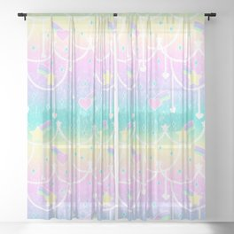 Beads and Stickers Sheer Curtain
