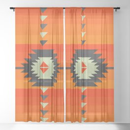Southwestern in orange and red Sheer Curtain