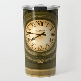 Ancient Clock in the train station Travel Mug