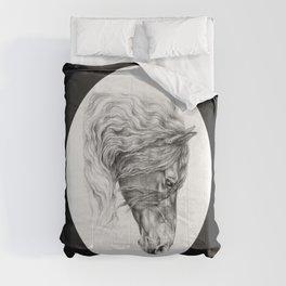 BLACK FRIESIAN HORSE HEAD Comforters